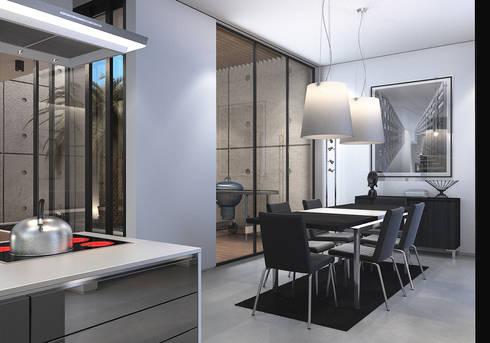 Bangka X House:  Ruang Makan by INK DESIGN STUDIO