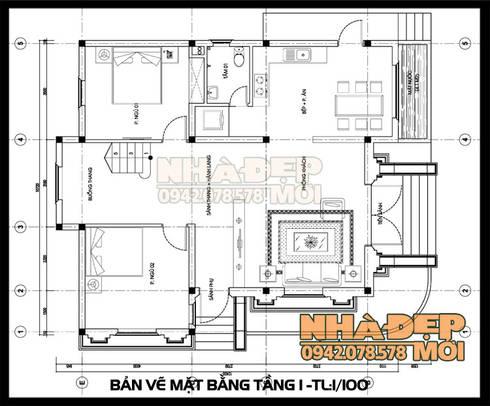 Bản vẽ thiết kế mặt bằng tầng 1:  Biệt thự by Công ty TNHH TKXD Nhà Đẹp Mới