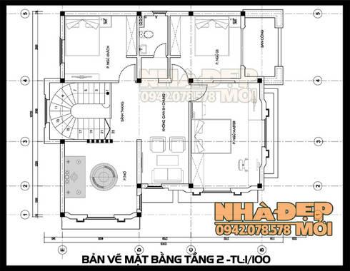 Bản vẽ thiết kế mặt bằng tầng 2:  Biệt thự by Công ty TNHH TKXD Nhà Đẹp Mới