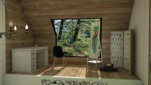 Mountain house: Estudios y despachos de estilo rústico de Blophome
