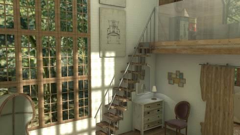 Mountain house: Salones de estilo rústico de Blophome