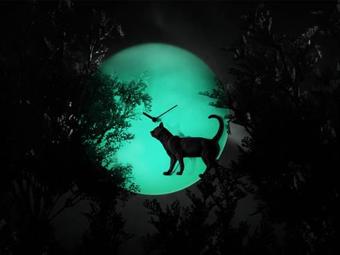 Haoshi Night Glow Cat Moon Clock: modern Bedroom by Just For Clocks