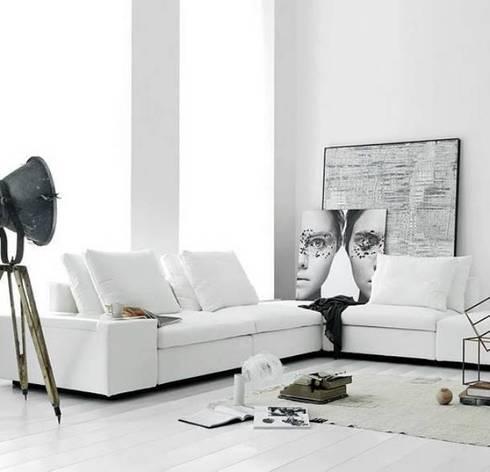 Spacio White Sofa: modern Living room by Spacio Collections