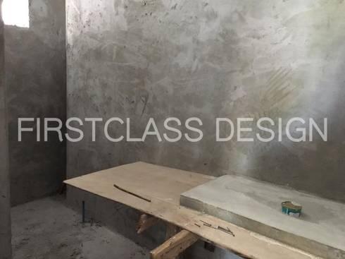 งานก่อฉาบ บ้านแฝดลาดปลาเค้า:   by Firstclass Design .Co., Ltd.