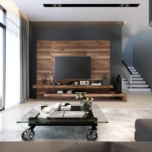 ออกแบบบ้านตัวอย่าง  K riz town:  ห้องนั่งเล่น by ramรับออกแบบตกแต่งภายใน