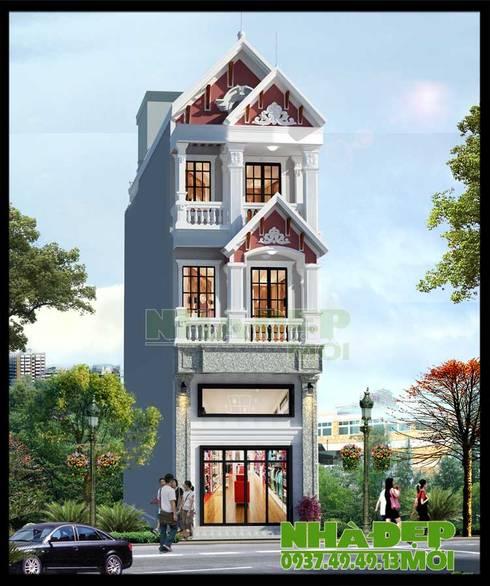 Không gian kiến trúc thanh thoát, đường nét sắc sảo nhẹ nhàng.:  Biệt thự by Công ty TNHH TKXD Nhà Đẹp Mới