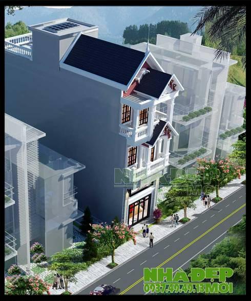 Chan hòa với cảnh quan tự nhiên bằng nhiều giải pháp kiến trúc đồng bộ.:  Biệt thự by Công ty TNHH TKXD Nhà Đẹp Mới