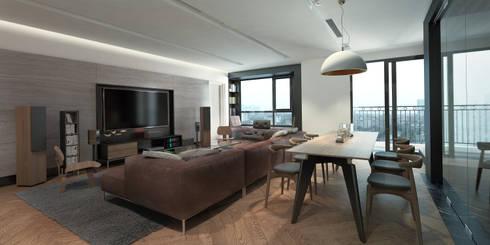 Căn hộ chung cư cao cấp TimesCity – T11:  Phòng khách by deline architecture consultancy & construction