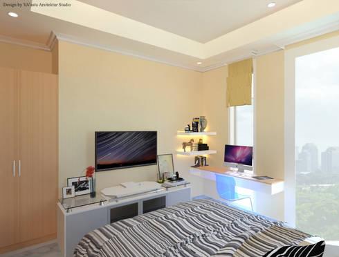 Guest Bedroom – Apartment Sudirman Area:  Kamar Tidur by Vaastu Arsitektur Studio