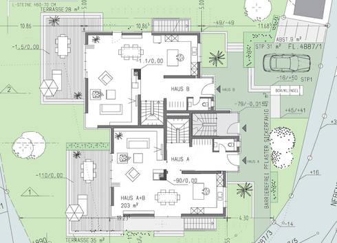 grundriss eg und freiflchenplan - Mehrfamilienhaus Grundriss Beispiele