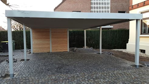 doppelcarport mit ger teraum von carport schmiede gmbh co kg homify. Black Bedroom Furniture Sets. Home Design Ideas