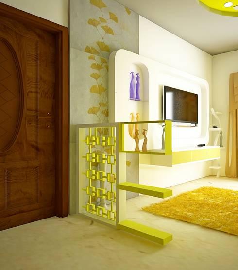 SJR Watermark, 3 BHK - Mr. Ankit:  Living room by DECOR DREAMS