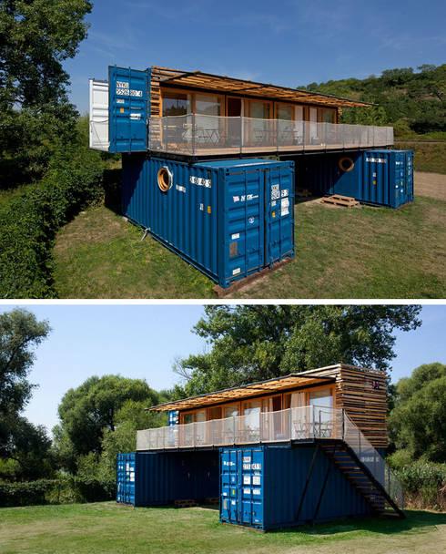 Casa de Campo 05: Casas de campo de estilo  por Eckostudio Horter S.A. de C.V.