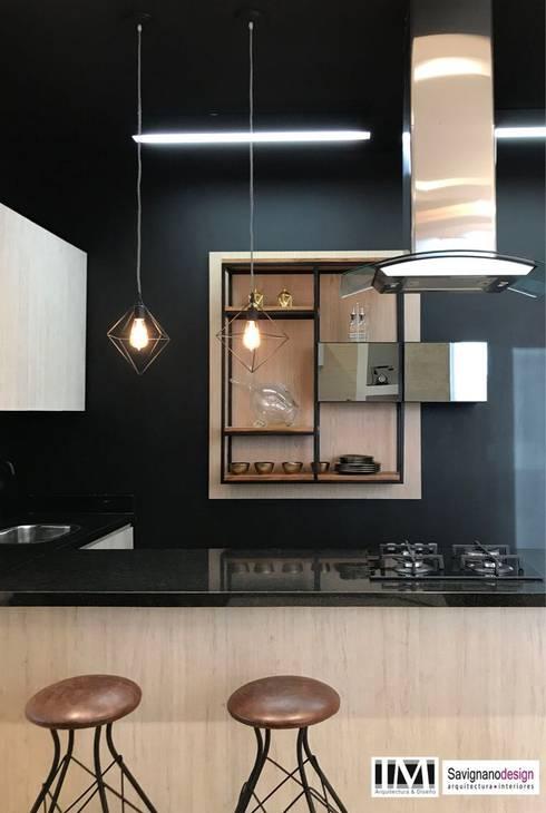 Diseño interior apartamento de soltero: Cocinas de estilo  por ecoexteriores