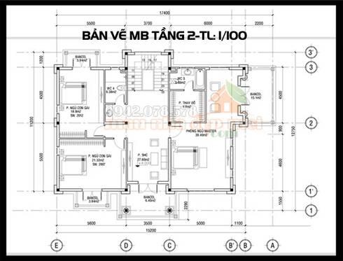 Bản vẽ phương án mặt bằng tầng 2:  Biệt thự by Công ty TNHH TKXD Nhà Đẹp Mới