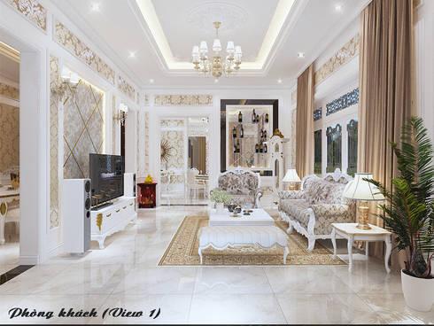 Biệt thự Trưng Nữ Vương - Đà Nẵng:  Phòng khách by Công ty Kiến trúc Á Âu
