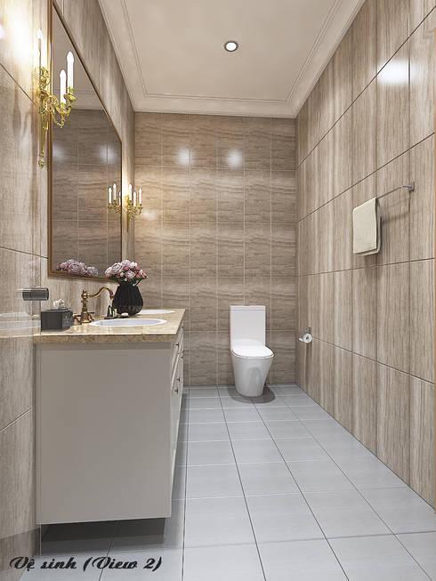 Biệt thự Trưng Nữ Vương – Đà Nẵng:  Phòng tắm by Công ty Kiến trúc Á Âu