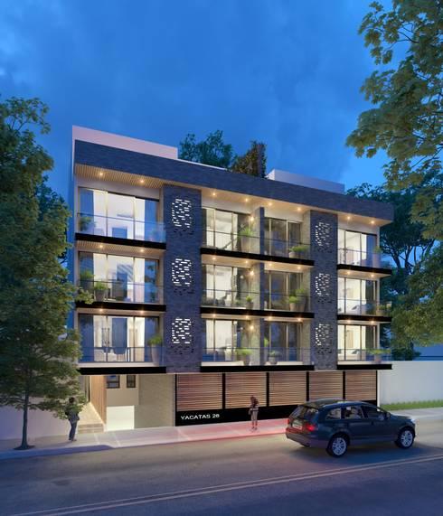 Fachada Principal: Condominios de estilo  por Fi Arquitectos