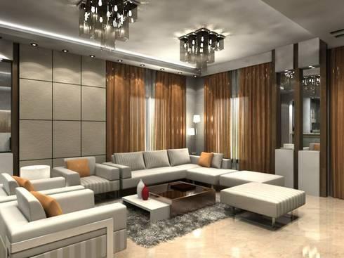 Modern Apartment New Cairo:  تصميم مساحات داخلية تنفيذ Axis Architects