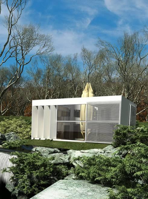 Vista Fachada : Casas de campo de estilo  por Fi Arquitectos