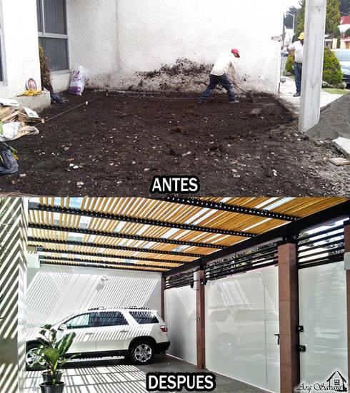 Antes y Despues garage en casa San Carlos:  de estilo  por Arkisav