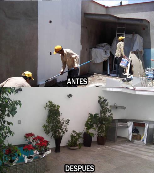 Antes y Despues en patio Casa San Carlos:  de estilo  por Arkisav