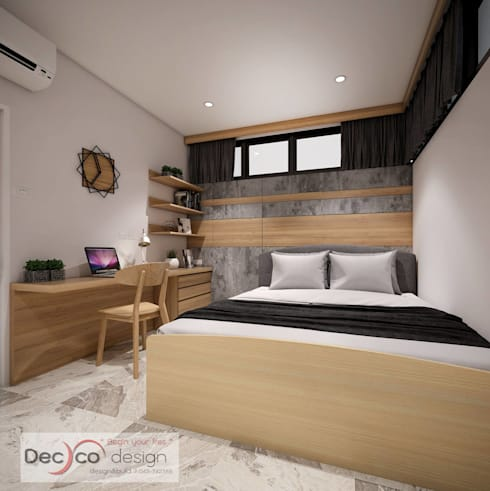 ห้องนอน สไตล์โมเดิร์นลอฟท์:   by Deccor Design