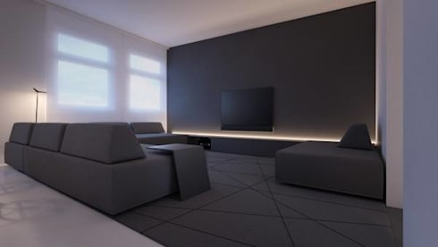 Proving that Less is More.: minimalistic Living room by Spacio Collections