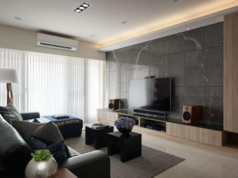 平鎮一號_方宅:  客廳 by 貝爾設計B.R studio