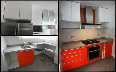 Dos Cocinas Pequeñas con gran personalidad: Cocinas de estilo moderno por A3 Interiors