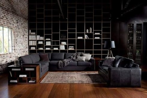 Wood on Black: modern Living room by Spacio Collections