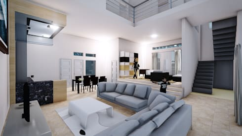 Interior BS House, Family Room:  Ruang Keluarga by Pr+ Architect