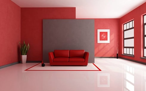 Colorful Red Interior: modern Living room by Spacio Collections