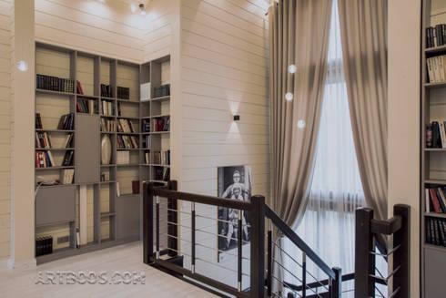 Лестничный холл-библиотека: Коридор и прихожая в . Автор – Творческая мастерская АRTBOOS