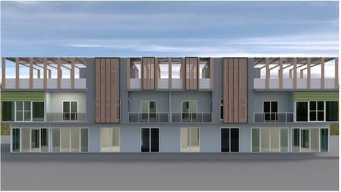 ออกแบบ อาคารพานิชย์ 2ชั้น 8คูหา style modern ค่ะ:   by mayartstyle