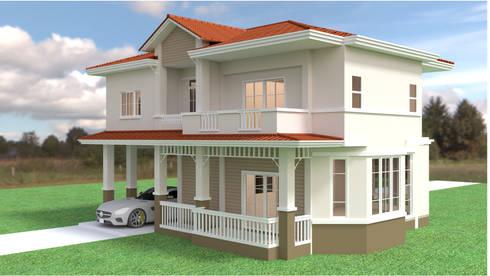 บ้านเดี่ยว 2ชั้น style country:  บ้านและที่อยู่อาศัย by mayartstyle