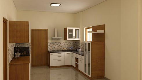 3 BHK APARTMENT INTERIORS AT MARATHAHALLI:  Kitchen units by BENCHMARK DESIGNS