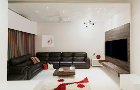 Single Family Private Residence, Ahmedabad: minimalistic Living room by A New Dimension