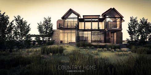 Country Home Gable roof style:   by W Design Studio Bangkok
