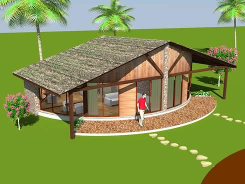 Twin cottage - Post modern Style:  Hotels by MRJ ASSOCIATES
