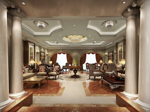 غرفة المعيشة تنفيذ  Axis Architects for architecture and interior design