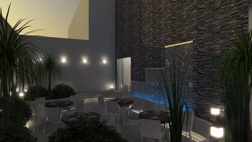 RECINTO DE ACCESO: Espacios comerciales de estilo  por OMAR SEIJAS, ARQUITECTO