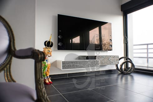 meuble tv suspendu corian acier et bois sur mesure