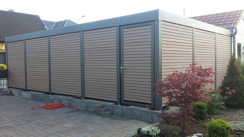 doppelcarport mit garagentor von carport schmiede gmbh. Black Bedroom Furniture Sets. Home Design Ideas