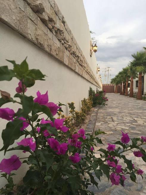VEGETACIÓN EN ANDADOR PRINCIPAL: Jardines de estilo rural por POLIGONO 93 ARQUITECTOS SA DE CV