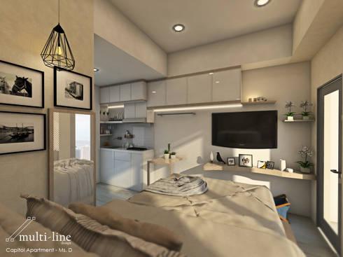 Studio Room – Capitol Apartment:  Kamar Tidur by Multiline Design