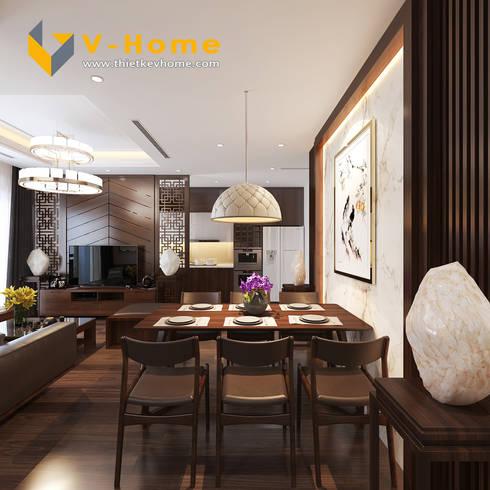 Thiết kế Chung cư Vinhomes – Chị Hiền:  Phòng ăn by Công ty CP Kiến trúc V-Home