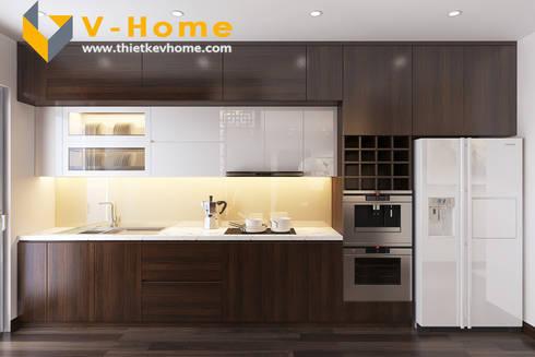 Thiết kế Chung cư Vinhomes – Chị Hiền:  Nhà bếp by Công ty CP Kiến trúc V-Home