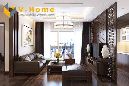Thiết kế Chung cư Vinhomes – Chị Hiền:  Phòng khách by Công ty CP Kiến trúc V-Home
