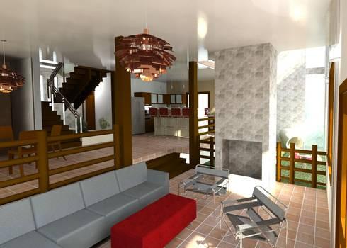 La sala: Salas / recibidores de estilo moderno por Diseño Store